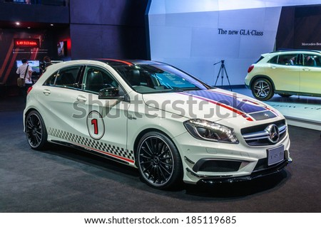 NONTHABURI, THAILAND - MARCH 25: The Mercedes Benz A250 AMG Sport is on display at the 35th Bangkok International Motor Show 2014 on March 25, 2014 in Nonthaburi, Thailand.