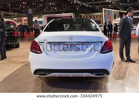 NONTHABURI, THAILAND - MARCH 24: The Mercedes Benz C300 Bluetec Hybrid is on display at the 36th Bangkok International Motor Show 2015 on March 24, 2015 in Nonthaburi, Thailand.