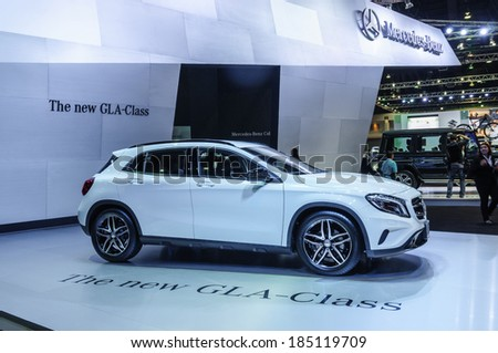 NONTHABURI, THAILAND - MARCH 25: The Mercedes Benz The New GLA-Class is on display at the 35th Bangkok International Motor Show 2014 on March 25, 2014 in Nonthaburi, Thailand.