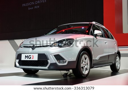 NONTHABURI, THAILAND - MARCH 30: The MG3 is on display at the 36th Bangkok International Motor Show 2015 on March 30, 2015 in Nonthaburi, Thailand.