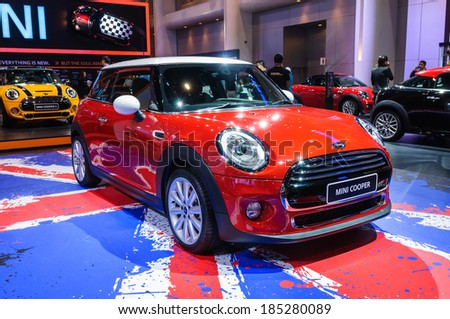 NONTHABURI, THAILAND - MARCH 25: The Mini Cooper is on display at the 35th Bangkok International Motor Show 2014 on March 25, 2014 in Nonthaburi, Thailand.