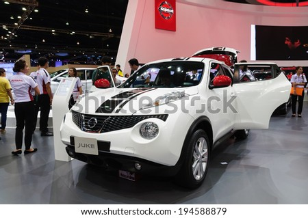 NONTHABURI, THAILAND - MARCH 31:The Nissan Juke is on display at the 35th Bangkok International Motor Show 2014 on March 31, 2014 in Nonthaburi, Thailand.