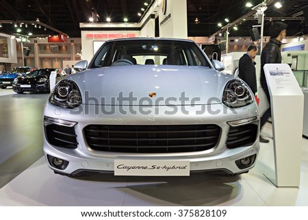 NONTHABURI, THAILAND - MARCH 24: The Porsche Cayenne Se-Hybrid is on display at the 36th Bangkok International Motor Show 2015 on March 24, 2015 in Nonthaburi, Thailand.