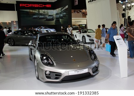 NONTHABURI, THAILAND - MARCH 25: The Porsche 911 turbo S is on display at the 35th Bangkok International Motor Show 2014 on March 25, 2014 in Nonthaburi, Thailand.