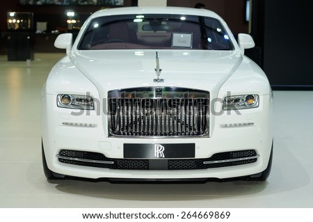 NONTHABURI, THAILAND - March 25: The Rolls Royce Ghost Extended Wheelbase is on display at The 36th Bangkok International Motor Show on March 25, 2015 in Nonthaburi, Thailand. - stock photo