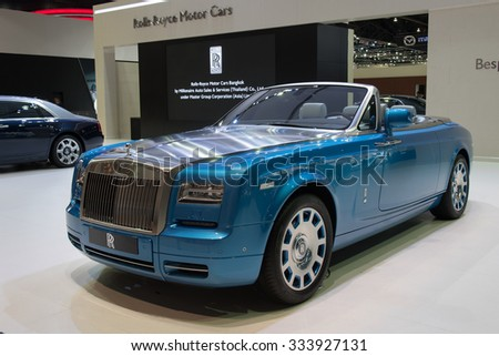 NONTHABURI, THAILAND - MARCH 30: The Rolls Royce Phantom Drophead Coupe is on display at the 36th Bangkok International Motor Show 2015 on March 30, 2015 in Nonthaburi, Thailand. - stock photo