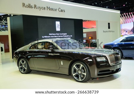 NONTHABURI, THAILAND - March 30: The Rolls Royce Wraith is on display at The 36th Bangkok International Motor Show on March 30, 2015 in Nonthaburi, Thailand. - stock photo