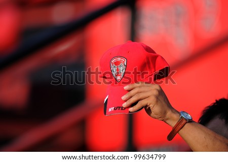 NONTHABURI THAILAND-March17:Unidentified of SCG MuangThong utd.supporters before games during Thai Premier League between SCG MuangThong utd.and BEC Tero on March17,2012 in SCG Stadium Thailand - stock photo