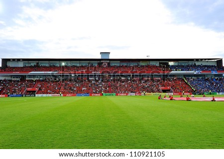 NONTHABURI THAILAND-MAY 27:View and unidentified SCG MuangThong utd.supporters during Thai Premier League between SCG Muangthong Utd.and Chonburi F.C.at SCG Stadium on May27,2012 in Thailand