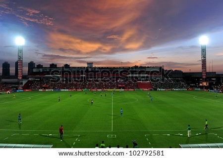 NONTHABURI THAILAND-MAY 17:View of SCG Stadium during Thai Premier League between SCG Muangthong Utd.and Army United FC.on May17,2012 in Nonthaburi,Thailand - stock photo