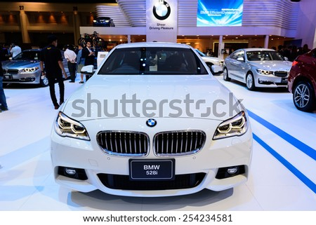 NONTHABURI, THAILAND - NOVEMBER 28: The BMW 528i is on display at the 31st Thailand International Motor Expo 2014 on November 28, 2014 in Nonthaburi, Thailand.