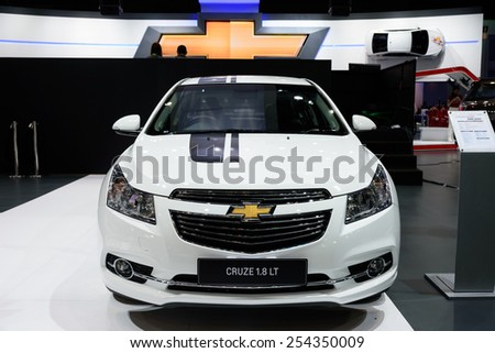 NONTHABURI, THAILAND - NOVEMBER 28: The Chevrolet Cruze 1.8LT is on display at the 31st Thailand International Motor Expo 2014 on November 28, 2014 in Nonthaburi, Thailand.  - stock photo