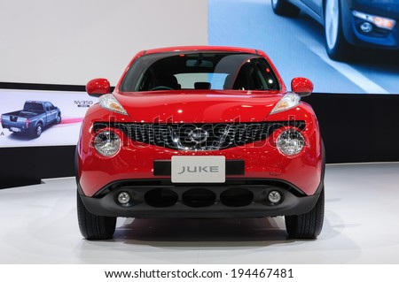 NONTHABURI, THAILAND - NOVEMBER 29: The Nissan Juke is on display at the 30th Thailand International Motor Expo 2013 on November 29, 2013 in Nonthaburi, Thailand.