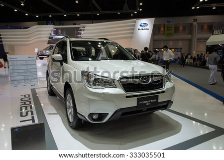 NONTHABURI, THAILAND - NOVEMBER 28: The Subaru Forester 2.0 i-L is on display at the 31st Thailand International Motor Expo 2014 on November 28, 2014 in Nonthaburi, Thailand.
