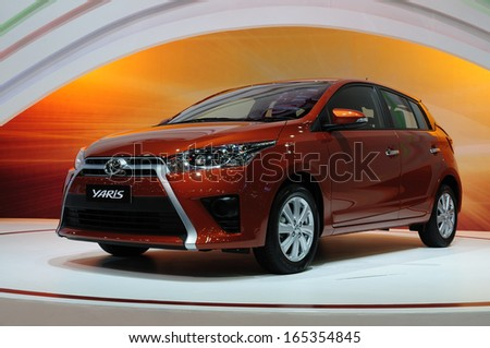 NONTHABURI, THAILAND - NOVEMBER 29:The Toyota Yaris is on display at the 30th Thailand International Motor Expo 2013 on November 29, 2013 in Nonthaburi, Thailand.