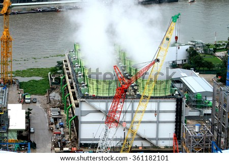 NONTHABURI-THAILAND-OCTOBER 8 : Construction & store of EGAT's North Bangkok gas combine cycle power plant 800 MW on October 8, 2014 in Nonthaburi, Thailand.