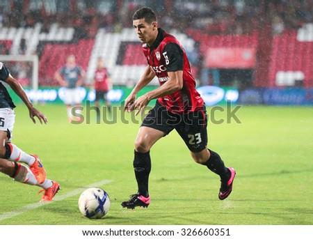 NONTHABURI,THAILAND-SEPTEMBER 23: Cleiton Silva Players of SCG Muangthong United in action between the game MTUTD and Chaing Rai UTD in Chang FA Cup 2015 at SCG Stadium on Sep 23, 2015