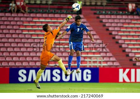 NONTHABURI THAILAND-SEPTEMBER 07:Gpalkeeper Ri Chol Song of DPR Korea in action during the AFC U-16 Championship between Kuwait and DPR Korea at Muangthong Stadium on Sep 07, 2014 ,Thailand