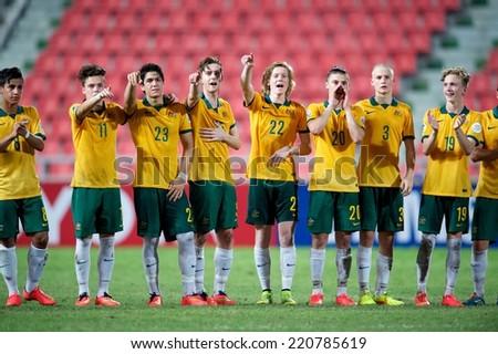 NONTHABURI THAILAND-SEPTEMBER 17:Players of Australia celebrates  during the AFC U-16 Championship between Australia and DPR Korea at Rajamangala Stadium on Sep17,2014,Thailand - stock photo