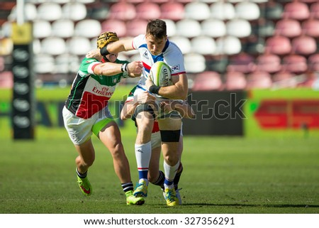 NONTHABURI THAILAND-SEPTEMBER 26:Unidentified rugby players in action during The Singha Thailand Sevens 2015 between South Korea (white) and UAE  at SCG Stadium on Sep 26, 2015,Thailand - stock photo