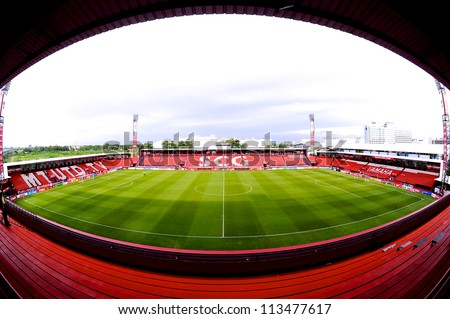 NONTHABURI THAILAND-SEPTEMBER9:View of  SCG Stadium before match during  Thai Premier League between SCG Muangthong utd.and Wuachon utd.at SCG Stadium on Sep9,2012 in Nonthaburi,Thailand