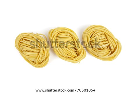 Noodle orderly, Three Chinese  yellow noodle arrange orderly. - stock photo