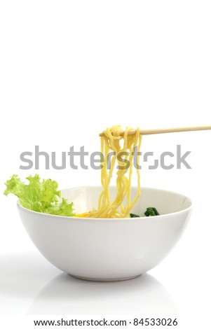 noodle ranmen Japanese food isolated in white background - stock photo