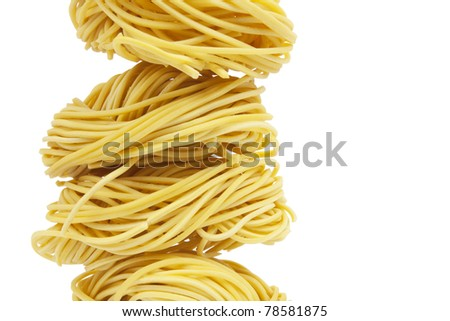 Noodle rolled, A pile of instant yellow noodle rolled. - stock photo