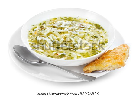 Noodle soup on a white background