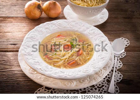 Noodle soup with beef broth - stock photo