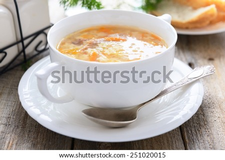 Noodle soup with homemade noodle - stock photo