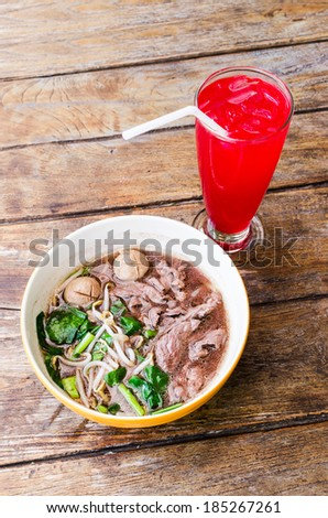 Noodle , Thai Noodle , Thai Noodle meat . Thai Noodle thin line ,  Thai Noodle small line , Thailand Food , lunch  , Noodles and drinks , Drink Red Lemon - stock photo