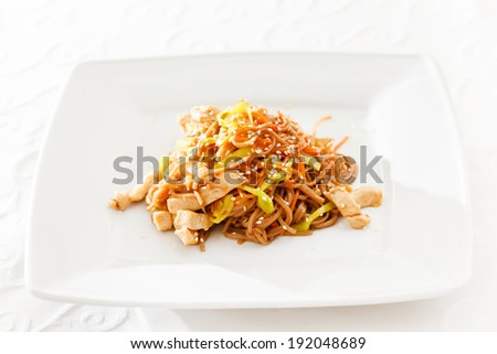 noodle with chicken - stock photo
