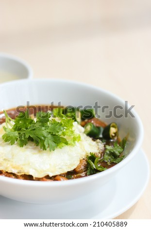 Noodle with fried egg Thai style. - stock photo