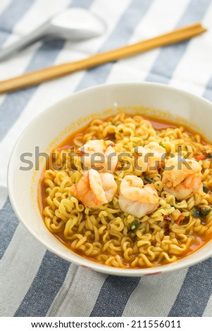 Noodle with shrimp - stock photo