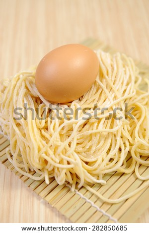 noodles and eggs - stock photo
