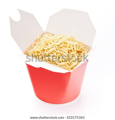 Noodles in take-out box on white background
