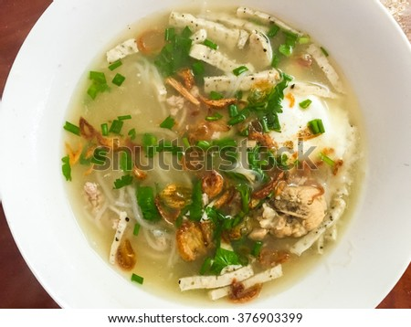 Noodles on wooden table. Asian food, Thai food. - stock photo