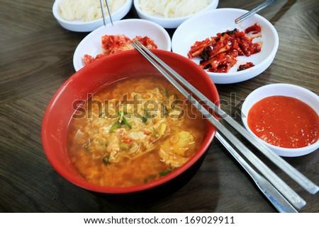Noodles Soup and Korean kimchi. - stock photo