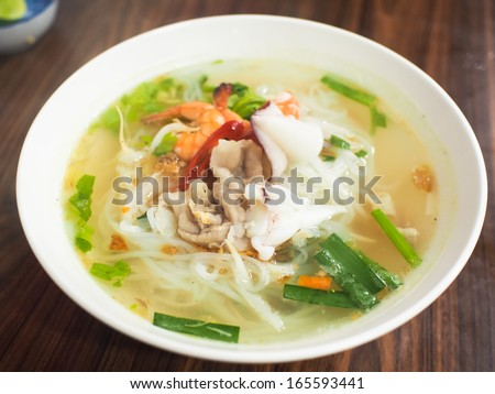 noodles soup with seafood - stock photo