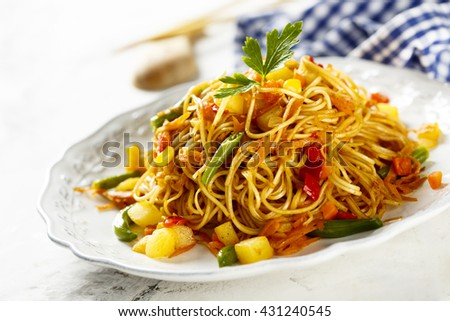 Noodles with vegetables - stock photo