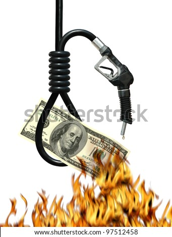 Noose, gas nozzle, money and fire metaphor symbolizing the cost of oil - stock photo