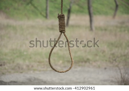 Noose,loop of rope hanging on a tree on a green grass background. Loop hempen rope on a grass background. Classic loop knot on grass background - stock photo