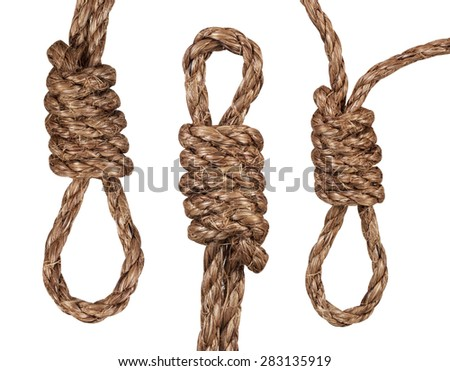 nooses isolated on a white background - stock photo