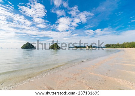 Nopparat Thara Beach Ao Nang - Mu Ko Phi Phi National Park headquarters. At low tide, walk out together with millions of small crabs on the sandy pathways to the small islands near the beach. - stock photo
