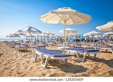 Nord part of Nessebar beach on the Black Sea in Bulgaria. - stock photo