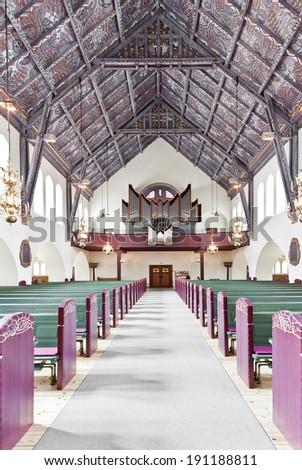 Nordic church interior with selective focus - stock photo