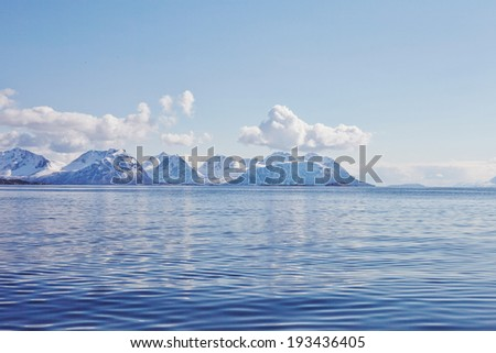 Nordic landscape. Mountains - stock photo