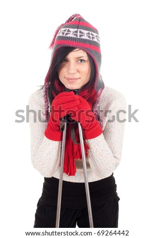 nordic walker lady in winter hat, scarf and mittens - stock photo