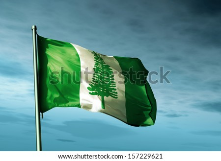 Norfolk Island flag waving in the evening - stock photo